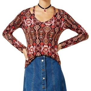 Ultra Flirt Women's Floral Print Cold Shoulder S